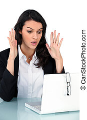 Woman having problem with computer