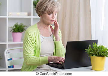 Woman having problems with computer