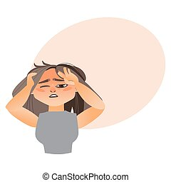 Woman having severe headache, migraine