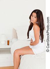 woman having stomach ache