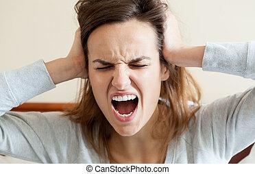 Woman having terrible headache - Horizontal view of woman...