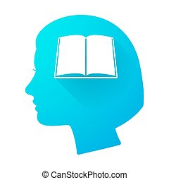 Woman head icon with a book