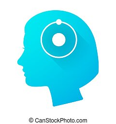 Woman head icon with an atom