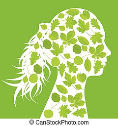 Woman head made with leaves ecology vector background concept