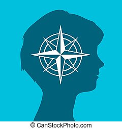 Woman head silhouette icon with a compass rose