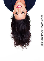 woman head upside down