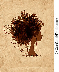Woman head with floral hairstyle on grunge old paper