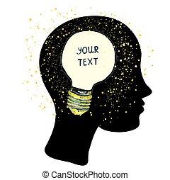 Woman head with lightbulb - idea concept