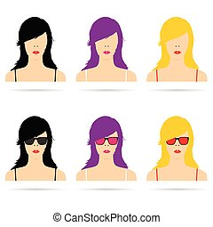 woman head with sunglasses set illustration