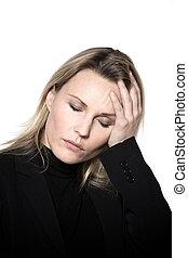 woman headache hangover migraine portrait studio