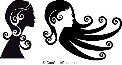 woman heads - woman silhouette with long black hair, vector