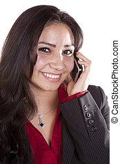 Woman headshot on phone happy