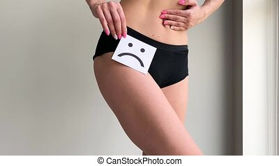 Woman Health. Female Body Holding Sad Smile Card Near...