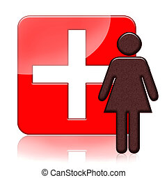 Woman health medical icon with cross over white background