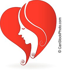 Woman heart love shape logo