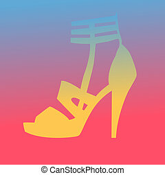 Woman heel shoe silhouette