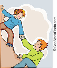 Woman giving a helping hand to a man when climbing a cliff. Made in layers. Completely editable.