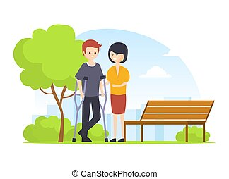 Woman Helping to Man on Crutches Walking in Park Outdoors, ...