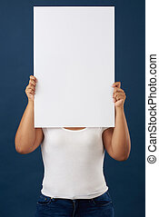 Woman hide face with white banner
