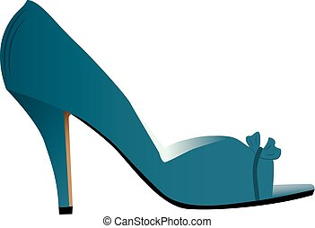 Side view illustration of woman's high heeled light blue shoe, isolated on white background.