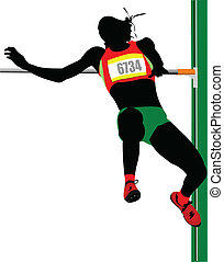 Woman high jumping. Track and field