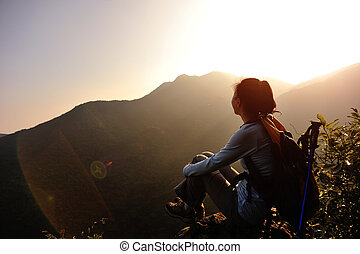 woman hiker enjoy the view - woman hiker enjoy the view at...