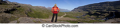 Woman Hiker Looking Down The Berufjordur Valley Iceland - ...