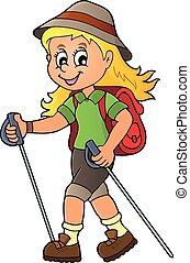 Woman hiker theme image illustration.
