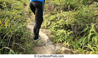 woman hiking at mountaiin trail - young woman hiker hiking...