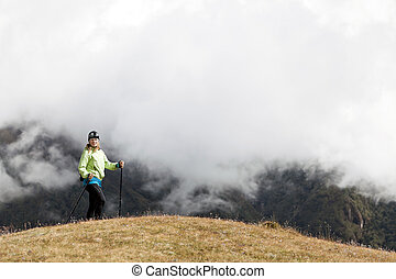 Woman hiking in Himalaya Mountains