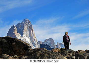 Woman hiking in the mountains, Mount Fitz Roy, Patagonia, Argentina