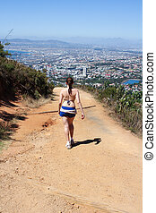 Woman hiking On Lions Head