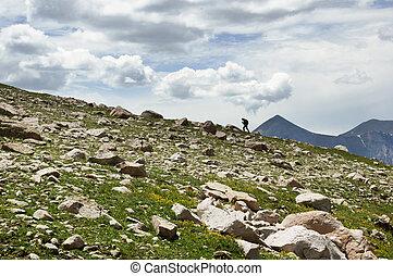 Woman Hiking On Ridge - distant woman hiking up a ridgeline...