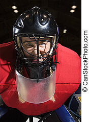 Woman hockey goalie.