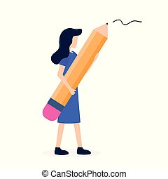 Woman Hold Big in Hand Pencil Writer Stationery