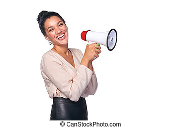Woman hold loudspeaker - Business, communication,...