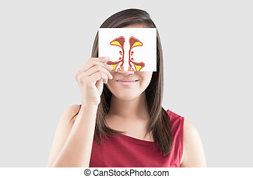 Woman hold sinus picture on white paper