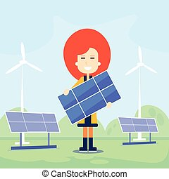 Woman Hold Solar Energy Panel Outdoor Wind Turbine