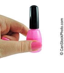 Woman hold up nail polish