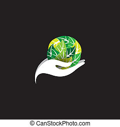 woman holding a ball of leaves - spa concept vector