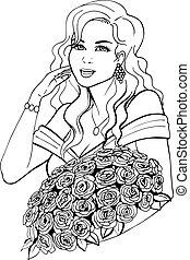Woman holding a beautiful flower