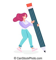 Woman holding a big pencil. Female person