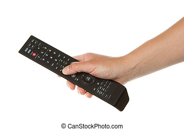 Woman holding a black remote in her hand