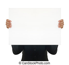 Woman holding a blank white board