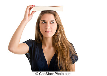 Woman Holding a Book Over Her Head