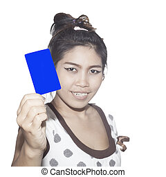 holding a business card