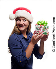 Woman holding a Christmas gift