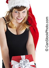 woman holding a christmas gift isolated on white
