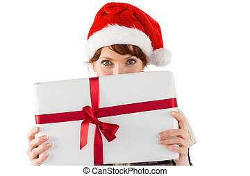 Woman holding a christmas present