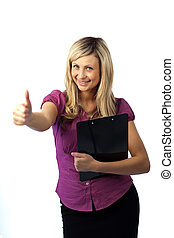 Woman Holding a Clip Board
